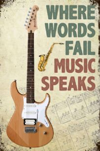 Music Speaks Guitar Vintage Style Metal Sign Wall Plaque 15X20cm